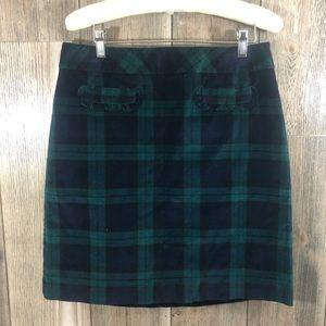Talbots Green and Black Tartan Plaid Velvet Skirt